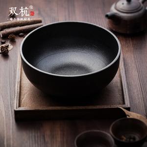 双杭铸铁锅 纯手工铸铁汤锅汤碗 日本锅送木垫通用炉灶炖锅 饭锅