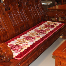 实木沙发垫红木头春秋长椅垫法兰绒防滑加厚老式木质沙发三人坐垫