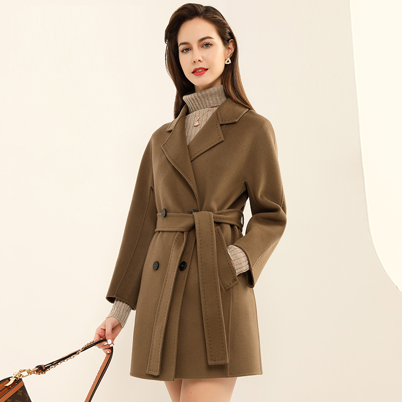 Cashmere wool coat womens Blended double-sided tweed small medium and short woolen coat buckle muzefei 255-1