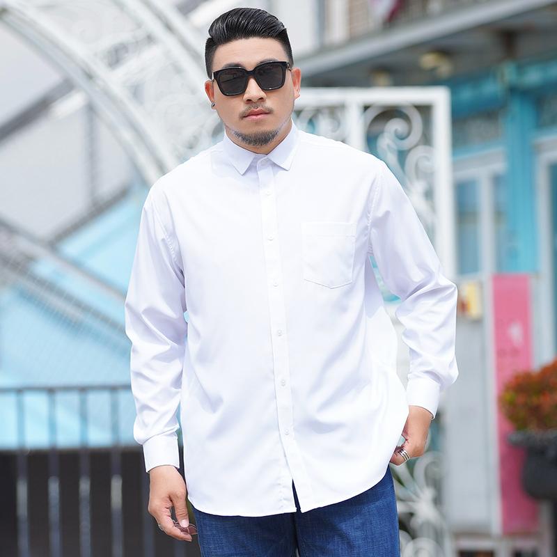 男士大码长袖纯白衬衫衬衣加肥加大码商务胖子肥佬春季潮短袖宽松