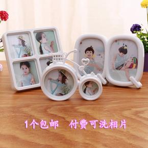创意韩式7寸6寸5寸自行车摆台儿童宝宝照片冲洗连体相框组合相架