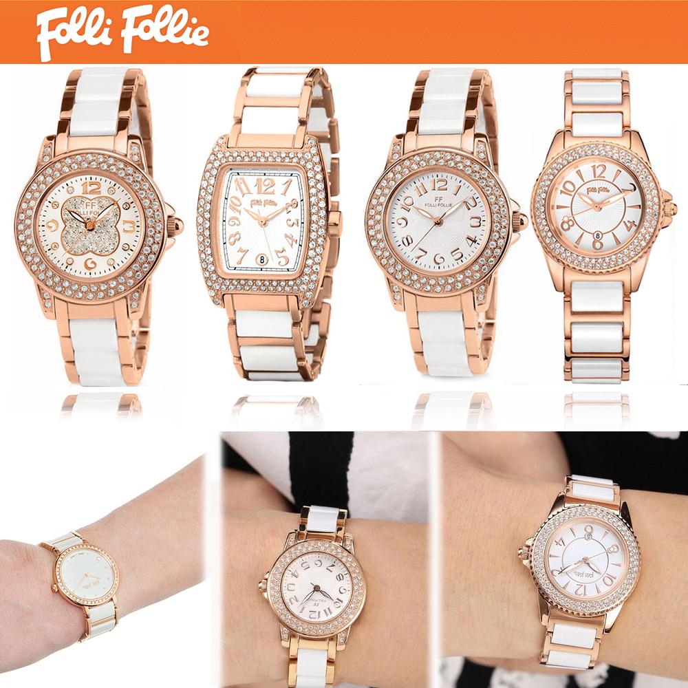 新款FolliFollie芙丽手表时尚镶钻玫瑰金陶瓷表女表WF9B020BP包邮
