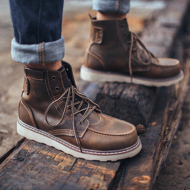 马登秋冬季加绒马丁靴短靴潮靴百搭英伦风男靴子中帮工装靴韩版潮