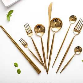欧式葡萄牙金色西餐牛排刀叉勺三件套304不锈钢套装家用餐具筷子图片