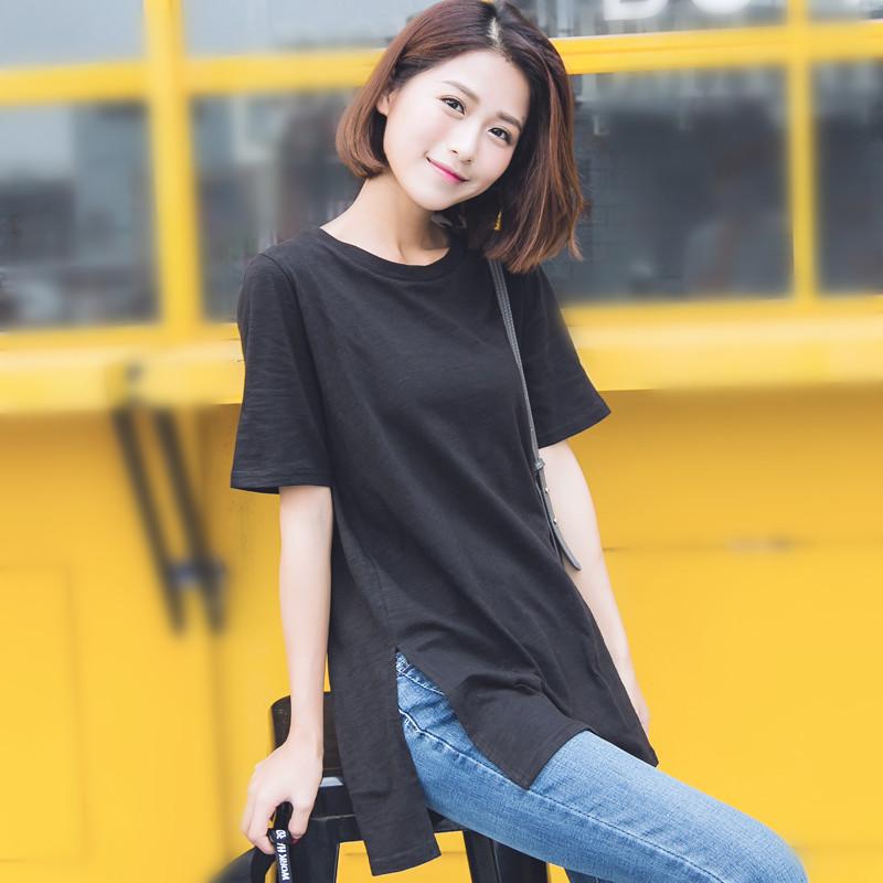 短袖黑色t恤女宽松韩版潮纯棉时尚百搭开叉大码中长款上衣女夏天