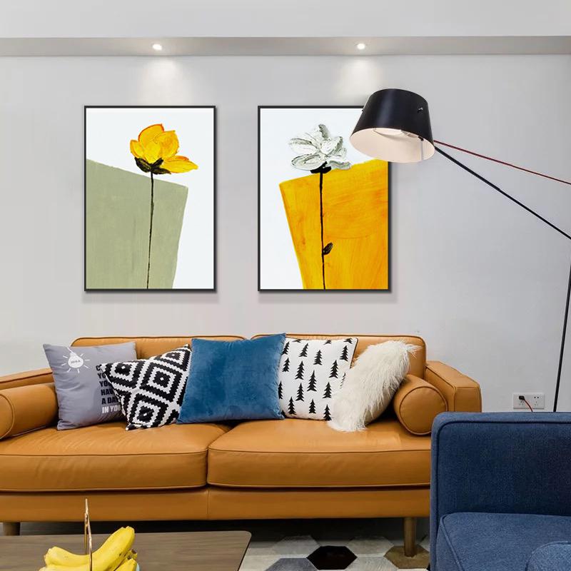 客厅沙发背景墙装饰画卧室床头手绘油画餐厅花卉壁画现代简约挂画