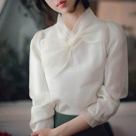 秋冬明星同款雪纺白衬衫女大蝴蝶结泡泡袖欧根纱衬衣长袖打底衫潮