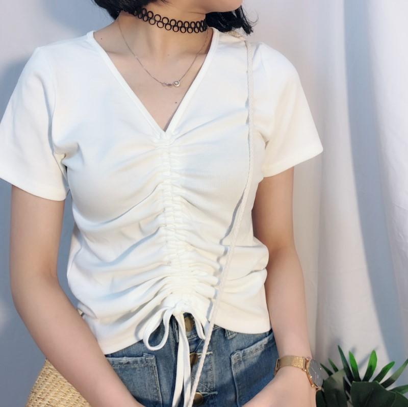 2020 summer new top drawstring pleated open navel V-neck slim care machine short sleeve t-shirt female white sexy trend