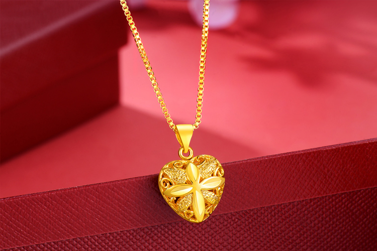 Pure gold necklace pendant womens set chain womens 999 gold box chain water wave chain love Rose Pendant