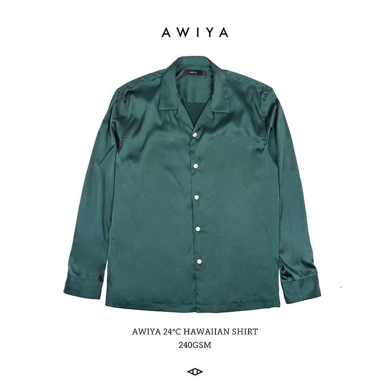 AWIYA璈雅 M66 REVERE COLLAR SHIRT 26℃长袖纯色缎面古巴领衬衣