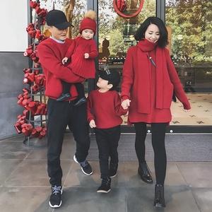 親子裝冬2019新款嬰童裝一家三四口家庭嬰兒連衣裙過年紅色毛衣潮