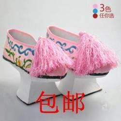 花盆底鞋粉色宫廷宫廷鞋格格新品耐磨好看还珠格格单鞋红色中式清