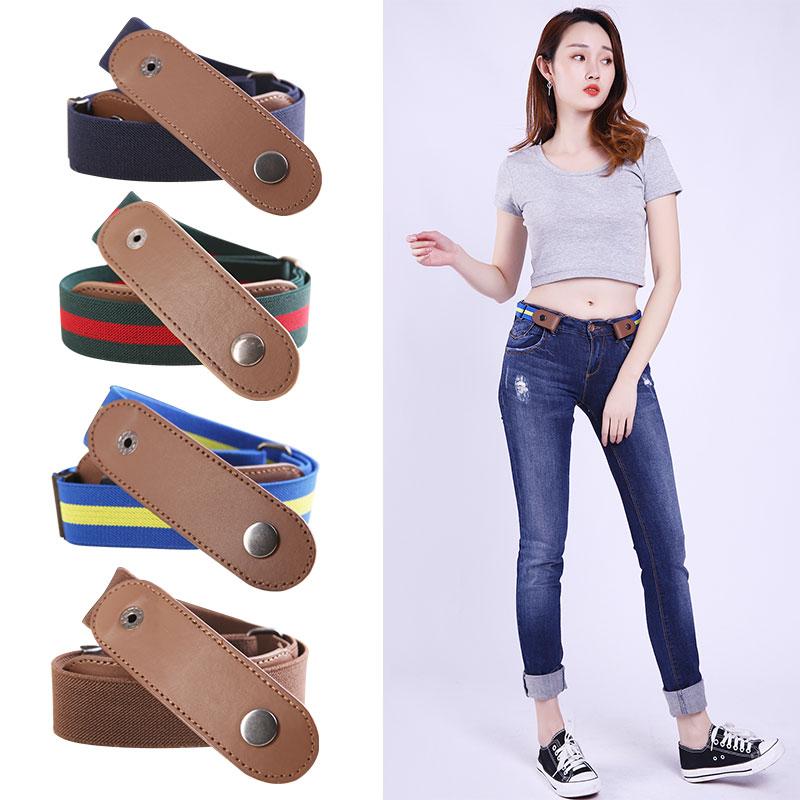 Jeans elastic anti allergy belt mens traceless invisible elastic lazy belt womens adjustable versatile button free