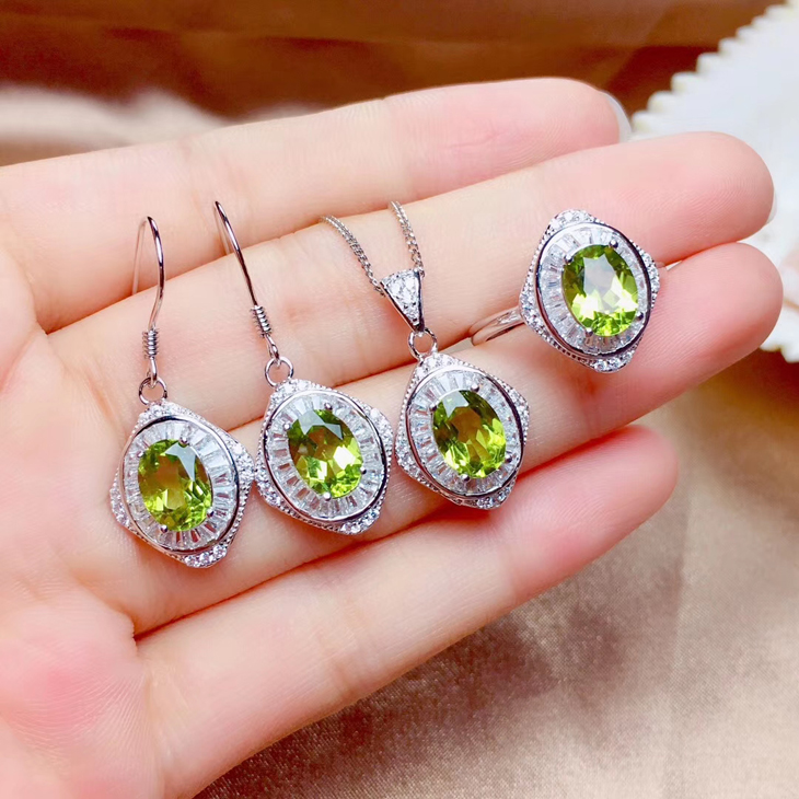 Birthday gift 925 Silver 18K gold inlaid Nepalese natural olivine Necklace Pendant ring earrings female Earrings