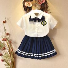 男女童校服夏季短袖套装小学生幼儿园园服学院风英伦两件套演出服