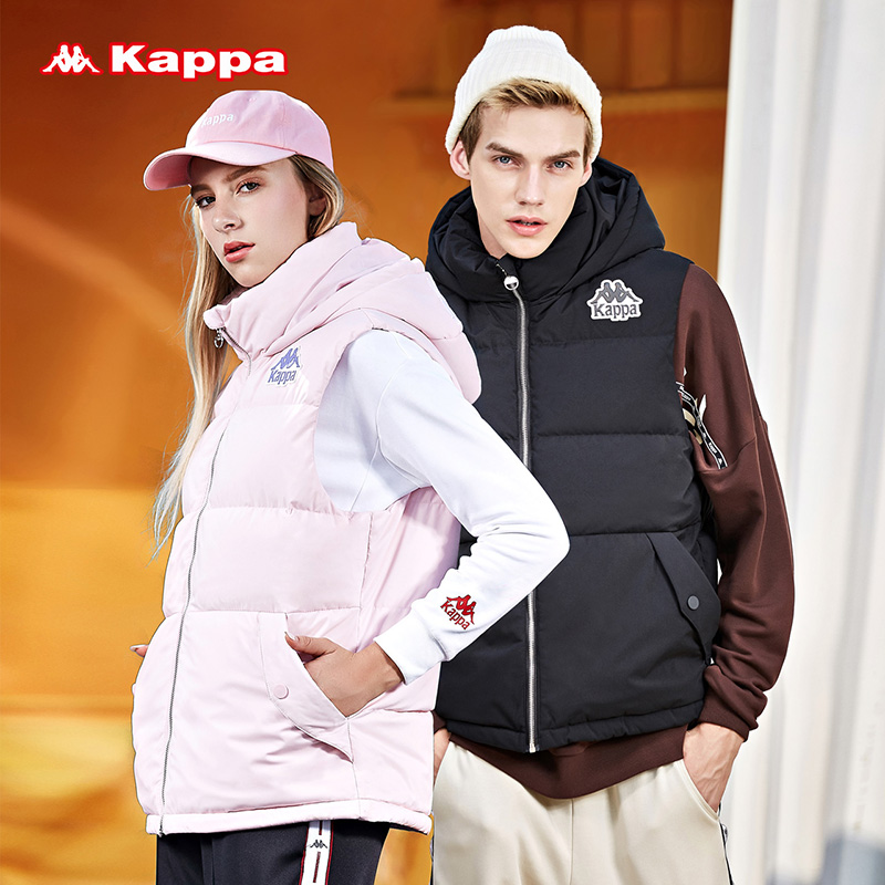 Kappa couple sports vest for men and women winter thickening hooded windproof warm down jacket VEST NEW