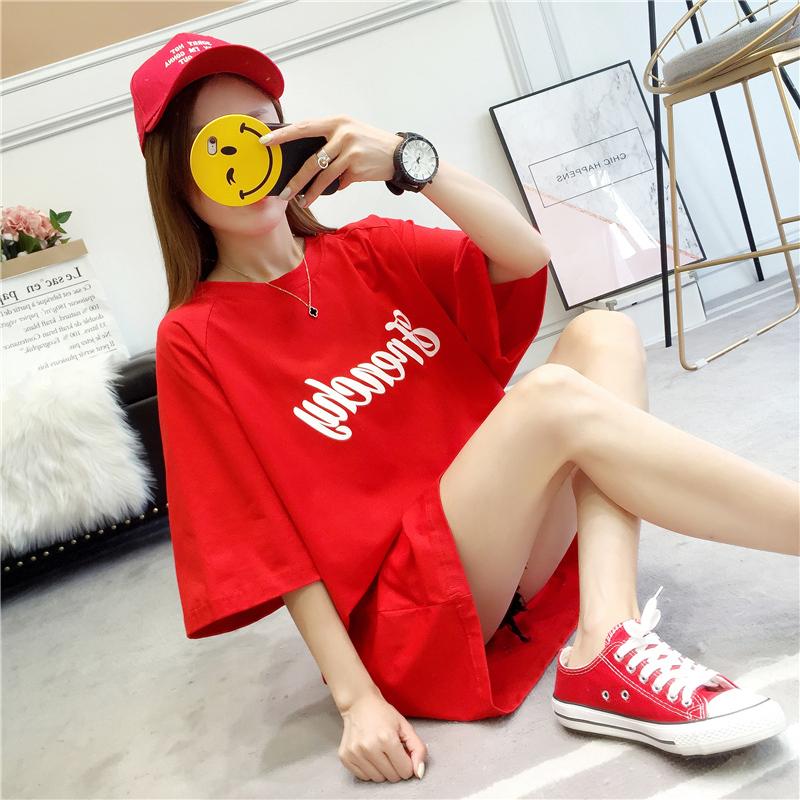 【2件59元】夏季新款中�L款短袖t恤女��松半袖�r尚�n范�W生上衣服