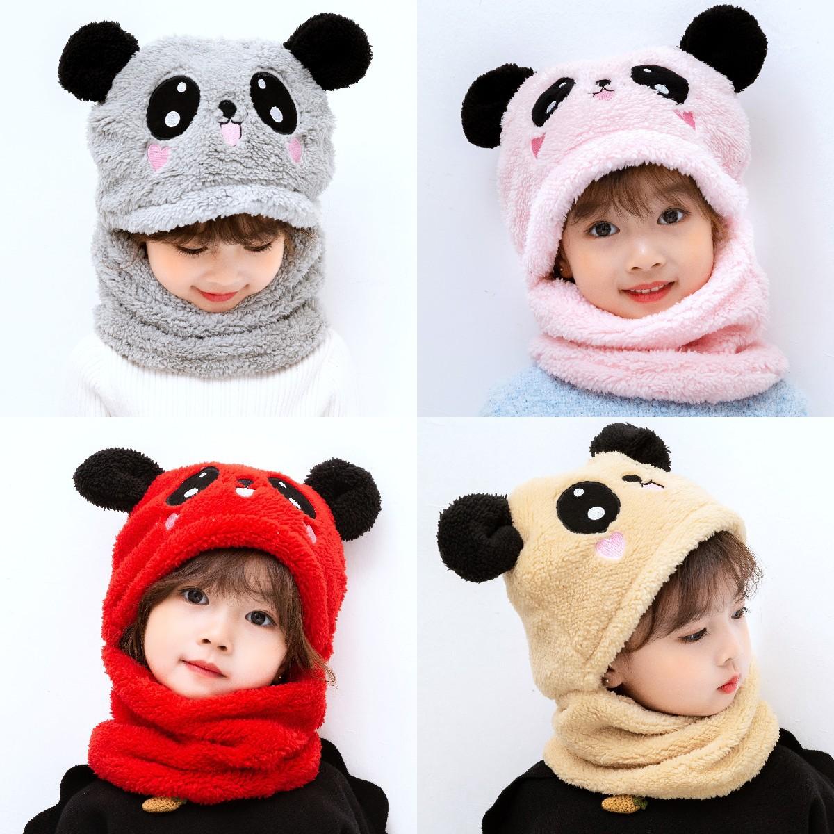 儿童帽子秋冬帽围脖一体护耳帽加厚宝宝男女童成人毛绒耳朵棉抖音