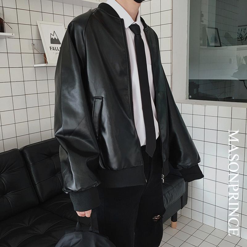 新款春秋帅气男士机车皮衣男潮外套夹克潮流韩版帅气秋冬加厚