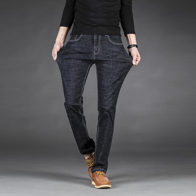 夏季薄款修身直筒弹力男式牛仔裤男装加肥加大码牛仔裤男LY1834