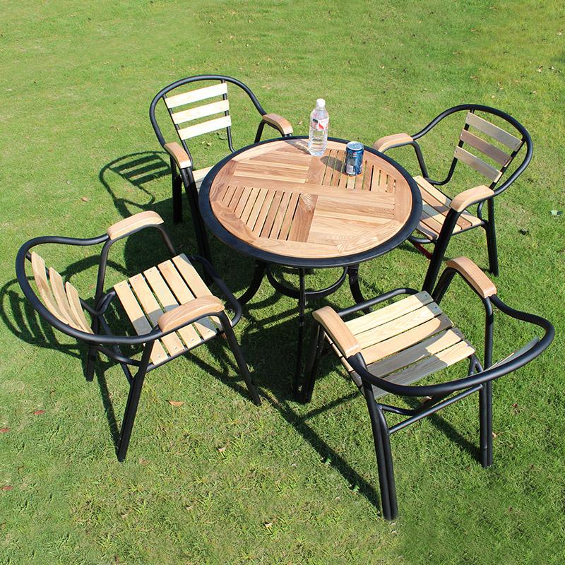 因美家 星巴克庭院休闲户外桌椅五件套 铁艺实木室外阳台桌椅组合