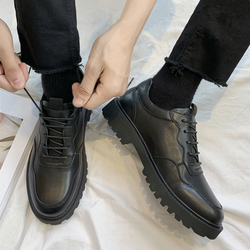 黑色小皮鞋男韩版潮流帅气青年英伦百搭厚底商务正装休闲西装鞋子
