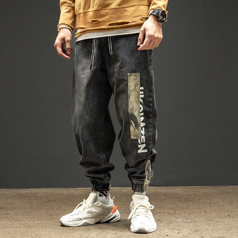 Ins fashion jeans mens Leggings retro stitching cloth camouflage pants loose trend Harlan pants
