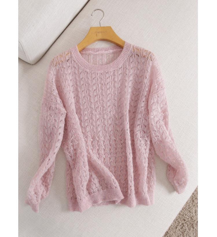 粉色柔美气质 蓬松感镂空提花马海毛薄款圆领宽松显瘦针织毛衣女