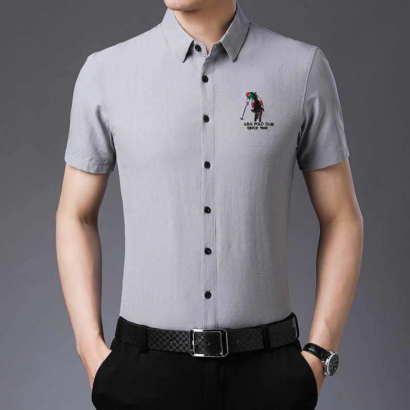 Summer new short sleeve shirt mens casual embroidery Paul shirt middle age easy iron inch shirt mercerized cotton Dad