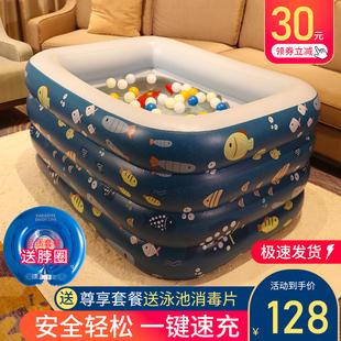 自充气游泳池儿童家用加厚折叠小孩游泳桶宝宝戏水池婴儿室内大型图片