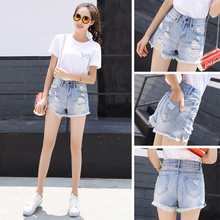 Jeans shorts women summer high waist loose holes show a new style of A-NET red ultra-short hot pants ins trend