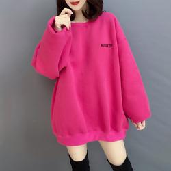 欧洲站2020秋季新款欧货潮韩版纯色休闲宽松圆领加绒加厚卫衣女装