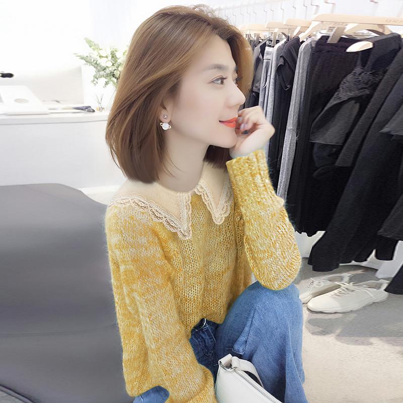 欧洲站2019秋装新款欧货潮韩版黄色洋气宽松娃娃领毛衣针织衫女装