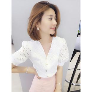欧货潮韩版 上衣衬衫 新款 白色气质V领镂空短袖 欧洲站2020夏季 女装