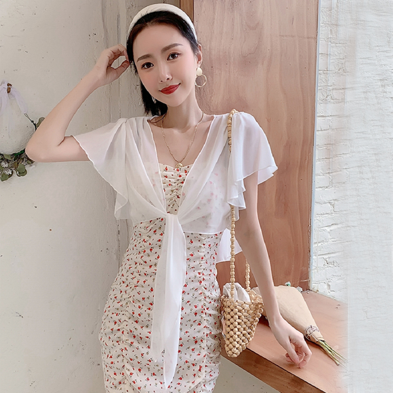 Small shawl Chiffon jacket with suspender skirt for women summer short with thin cardigan and bat sleeve