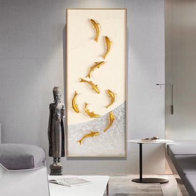 九鱼图风水招财墙画新中式玄关立体装饰画竖版门口走廊大气挂现代