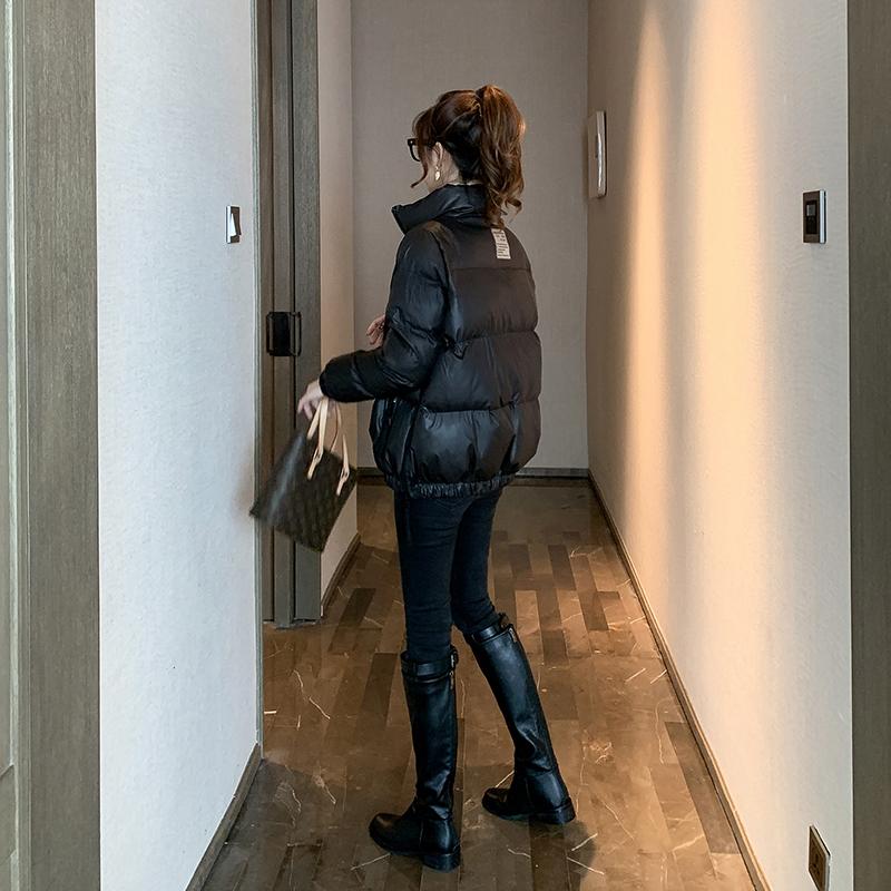 【季末打折】亮面棉衣外套女秋冬季宽松减龄短款黑色羽绒面包棉服