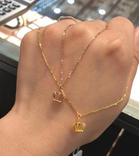 18k750玫瑰金黄金女王公主皇冠一体套链项链 香港六福珠宝专柜正品