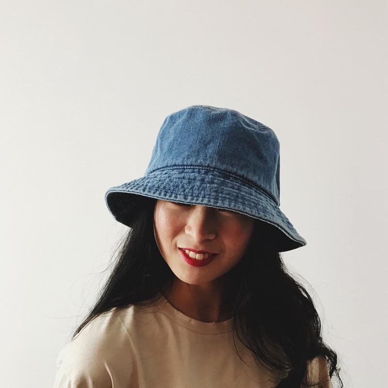 新款牛仔渔夫帽子男女士夏天韩版日系文艺百搭遮阳帽布帽防晒盆帽