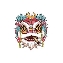 国潮舞狮子车贴中国风狮来运转遮挡个性穿衣摩托电动机车汽车贴纸