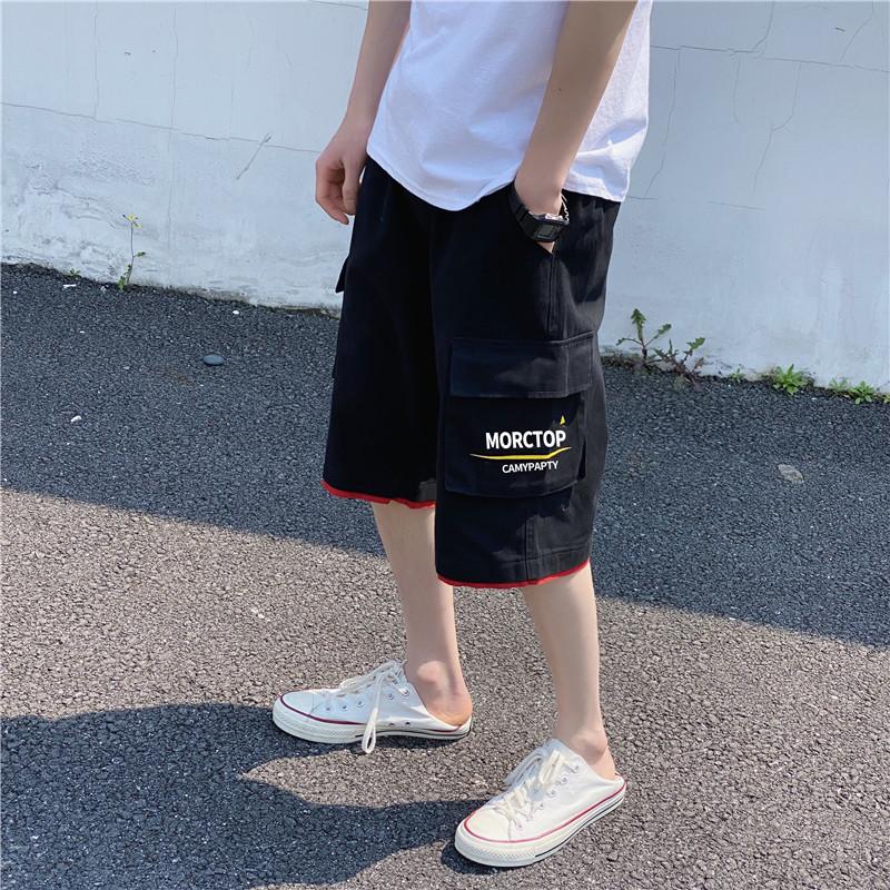 男性用短パン港風のストレートズボンカジュアルズボン男性用ズボン黒い夏の若者ファッションがゆったりしています。