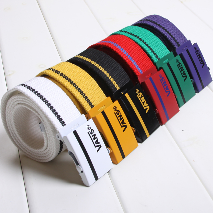 Fashion brand belt for male students, Korean version for young people, simple fashion canvas belt for young people, vans trend for young people