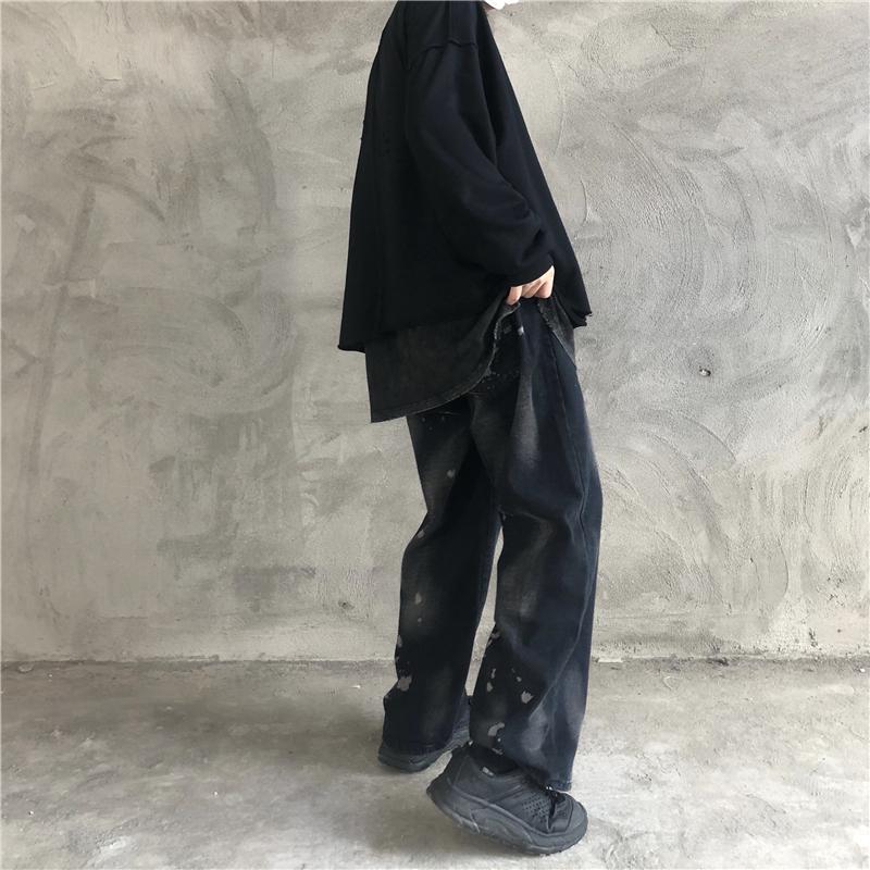 2019秋冬新款韩国ins暗黑系阔腿慵懒牛仔裤老爹裤直筒裤男女款潮