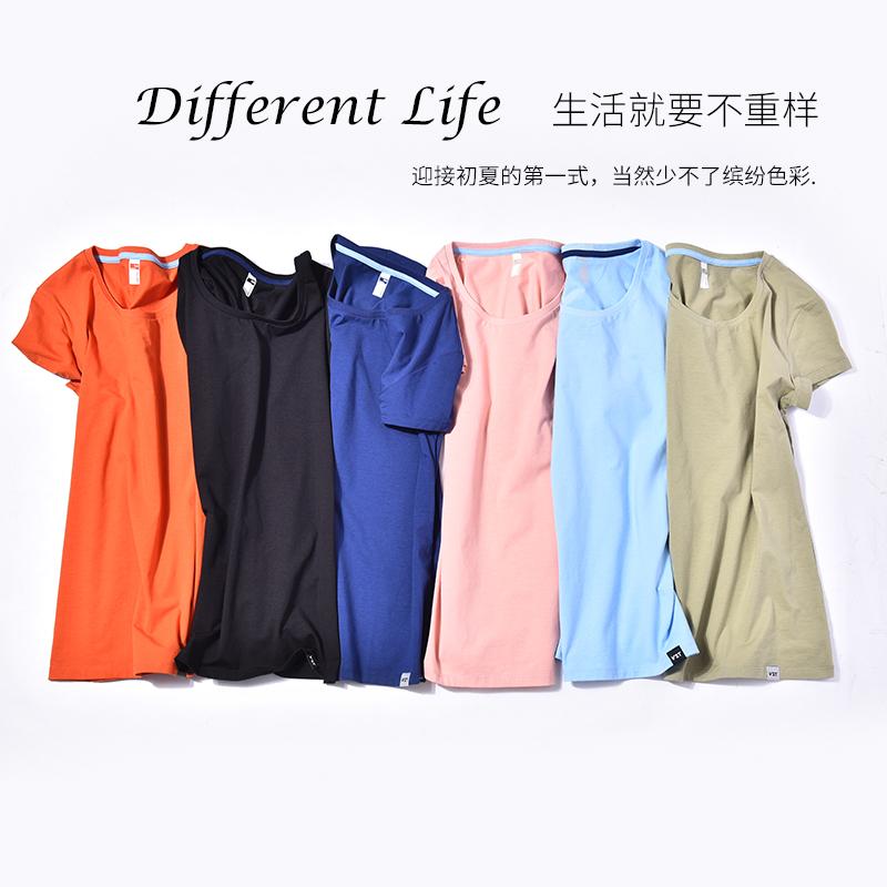 短袖t恤女弹力打底衫防走光纯色棉圆领修身透气排汗显瘦轻薄休闲