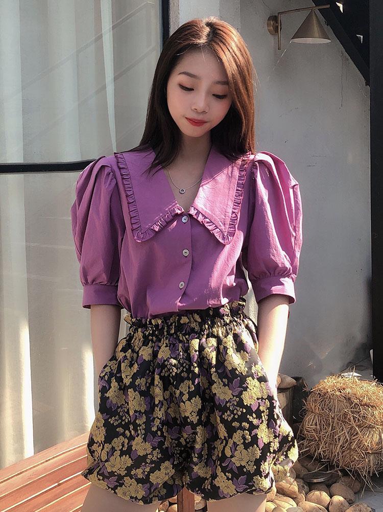烟熏玫瑰紫花边元气翻领泡泡袖衬衫 显白减龄全棉短款上衣