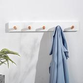 白色实木质衣服挂钩免打孔入户门后衣帽钩北欧ins简约风玄关墙壁