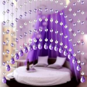 水晶珠簾門簾玄關臥室客廳隔斷簾弧形過道成品歐式半掛門簾子裝飾