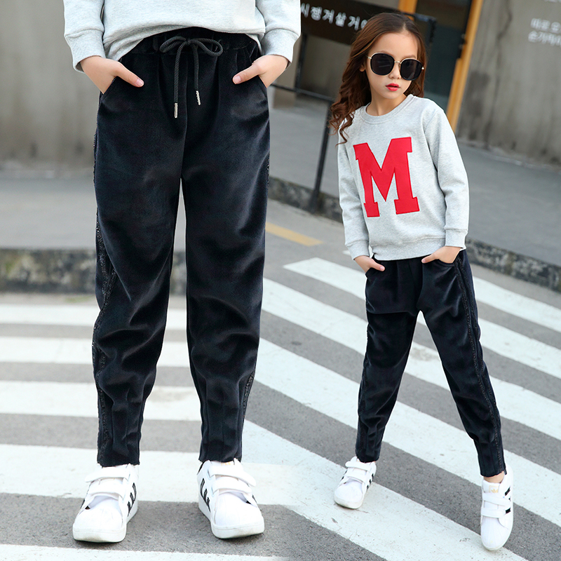 Girls suede warm pants autumn and winter Korean version middle and large childrens thickened sports pants leisure Harlan pants thick outer pants