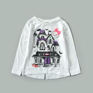 微瑕 女童装春夏款小城堡图长袖T恤 宝宝打底衫上衣