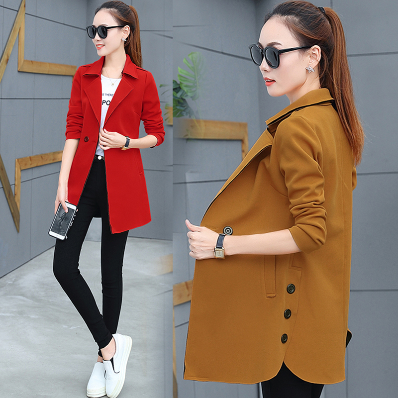 Coat womens spring and autumn wear 2019 new Korean large womens clothing loose long sleeve coat shows thin medium and long windbreaker trend